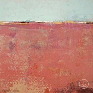 "Minimalist abstract beach painting ""Feral Tidings,"" digital art landscape by Victoria Primicias"