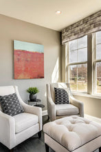 "Load image into Gallery viewer, Minimalist abstract ocean painting ""Feral Tidings,"" digital art landscape by Victoria Primicias, decorates the living room."