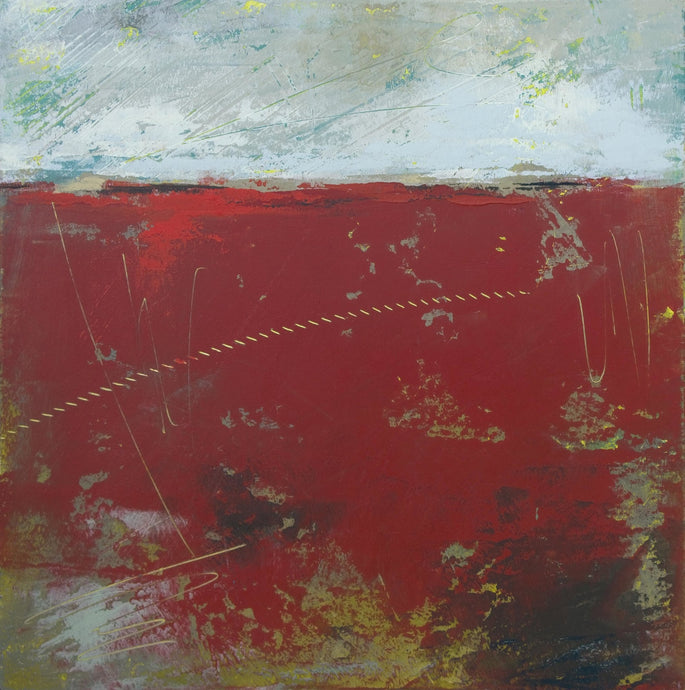 Large red abstract beach wall art