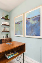 "Load image into Gallery viewer, Purple abstract coastal wall decor ""Final Episode,"" metal print by Victoria Primicias, decorates the office."