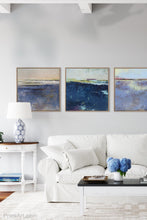"Load image into Gallery viewer, Purple abstract coastal wall decor ""Final Episode,"" metal print by Victoria Primicias, decorates the living room."