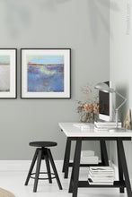 "Load image into Gallery viewer, Purple abstract beach wall decor ""Final Episode,"" canvas print by Victoria Primicias, decorates the office."