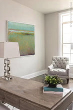"Load image into Gallery viewer, Coastal abstract landscape art ""Fine Margin,"" downloadable art by Victoria Primicias, decorates the office."