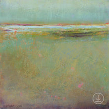 "Load image into Gallery viewer, Coastal abstract landscape painting ""Fine Margin,"" downloadable art by Victoria Primicias"