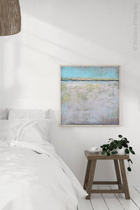 "Neutral color abstract beach wall decor ""Finnish Line,"" metal print by Victoria Primicias, decorates the bedroom."