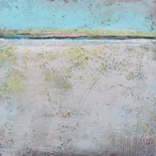 "Load image into Gallery viewer, Neutral color abstract beach wall decor ""Finnish Line,"" metal print by Victoria Primicias"