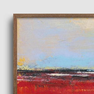 "Closeup detail of large red abstract beach wall decor ""Fire Sea,"" wall art print by Victoria Primicias"