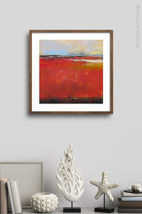 "Large red abstract beach wall decor ""Fire Sea,"" wall art print by Victoria Primicias, decorates the wall."