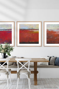 "Large red abstract coastal wall decor ""Fire Sea,"" giclee print by Victoria Primicias, decorates the dining room."