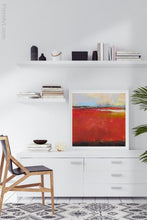 "Load image into Gallery viewer, Large red abstract coastal wall decor ""Fire Sea,"" giclee print by Victoria Primicias, decorates the office."