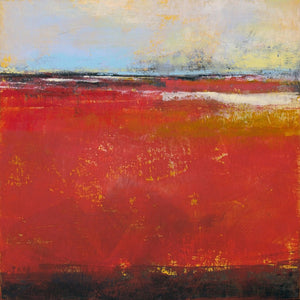 "Large red abstract beach wall decor ""Fire Sea,"" wall art print by Victoria Primicias"