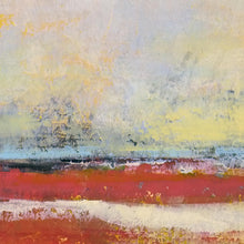 "Load image into Gallery viewer, Closeup detail of large red abstract coastal wall art ""Fire Sea,"" fine art print by Victoria Primicias"