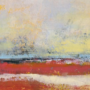 "Closeup detail of large red abstract coastal wall art ""Fire Sea,"" fine art print by Victoria Primicias"