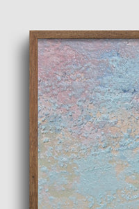 "Closeup detail of square abstract landscape painting ""Flaming June,"" canvas wall art by Victoria Primicias"