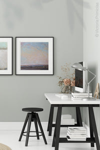"Square abstract beach painting ""Flaming June,"" canvas print by Victoria Primicias, decorates the office."