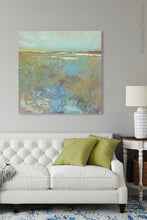 "Load image into Gallery viewer, Colorful abstract landscape painting ""Floating Gallery,"" fine art print by Victoria Primicias, decorates the living room."
