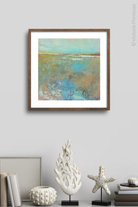 "Colorful abstract landscape painting ""Floating Gallery,"" fine art print by Victoria Primicias, decorates the wall."