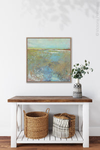 "Colorful landscape painting ""Floating Gallery,"" canvas wall art by Victoria Primicias, decorates the hallway."