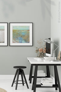 "Colorful landscape painting ""Floating Gallery,"" canvas wall art by Victoria Primicias, decorates the office."