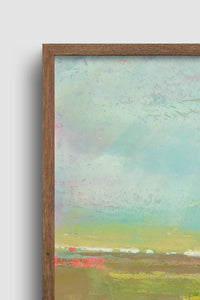 "Closeup detail of colorful abstract landscape painting ""Floating Gallery,"" fine art print by Victoria Primicias"