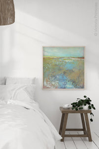 "Colorful abstract landscape art ""Floating Gallery,"" giclee print by Victoria Primicias, decorates the bedroom."