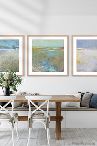 "Colorful abstract landscape art ""Floating Gallery,"" giclee print by Victoria Primicias, decorates the dining room."