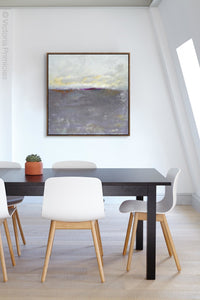 "Neutral color abstract coastal wall decor ""Fog Island,"" digital print by Victoria Primicias, decorates the office."