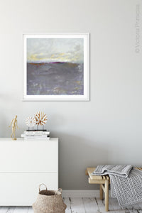 "Purple gray abstract coastal wall decor ""Fog Island,"" wall art print by Victoria Primicias, decorates the foyer."