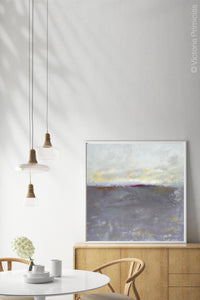 "Purple gray abstract ocean wall art ""Fog Island,"" fine art print by Victoria Primicias, decorates the dining room."