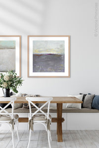 "Purple gray abstract beach artwork ""Fog Island,"" giclee print by Victoria Primicias, decorates the dining room."