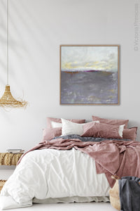 "Purple gray abstract ocean wall art ""Fog Island,"" fine art print by Victoria Primicias, decorates the bedroom."