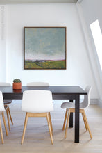 "Load image into Gallery viewer, Gray abstract beach artwork ""Golden Lining,"" canvas wall art by Victoria Primicias, decorates the office."