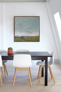 "Gray abstract beach artwork ""Golden Lining,"" canvas wall art by Victoria Primicias, decorates the office."