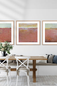 "Coastal abstract landscape painting ""Golden Voyage,"" canvas print by Victoria Primicias, decorates the dining room."