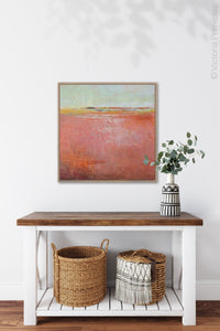 "Coastal abstract coastal wall art ""Golden Voyage,"" giclee print by Victoria Primicias, decorates the entryway."