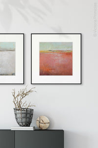 "Coastal abstract landscape painting ""Golden Voyage,"" canvas print by Victoria Primiciasentryway."