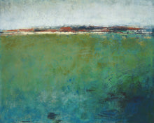 "Load image into Gallery viewer, Green abstract original art ""Healing Tides,"" landscape painting by Victoria Primicias."