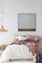 "Load image into Gallery viewer, Blue abstract beach artwork ""Hello Again,"" downloadable art by Victoria Primicias, decorates the bedroom."