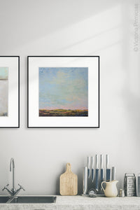 "Blue abstract beach artwork ""Hello Again,"" downloadable art by Victoria Primicias, decorates the kitchen."