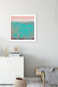 "Teal green abstract coastal wall art ""Hero Harbor,"" canvas print by Victoria Primicias, decorates the hallway."