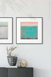 "Teal green abstract coastal wall decor ""Hero Harbor,"" canvas art print by Victoria Primicias, decorates the entryway."