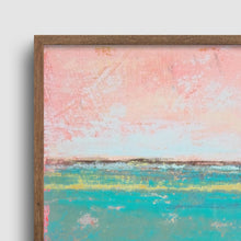 "Load image into Gallery viewer, Closeup detail of teal green abstract coastal wall art ""Hero Harbor,"" canvas print by Victoria Primicias"