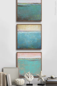 "Teal green abstract landscape painting ""Hero Harbor,"" metal print by Victoria Primicias, decorates the entryway."
