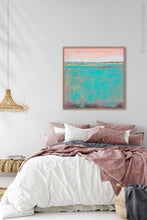 "Load image into Gallery viewer, Teal green abstract coastal wall decor ""Hero Harbor,"" canvas art print by Victoria Primicias, decorates the bedroom."