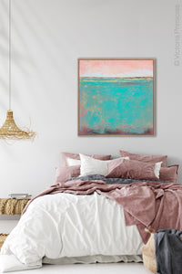 "Teal green abstract coastal wall decor ""Hero Harbor,"" canvas art print by Victoria Primicias, decorates the bedroom."
