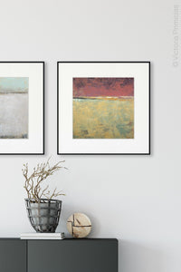 "Red and gold abstract ocean wall art ""Imperial Secrets,"" canvas art print by Victoria Primicias, decorates the entryway."