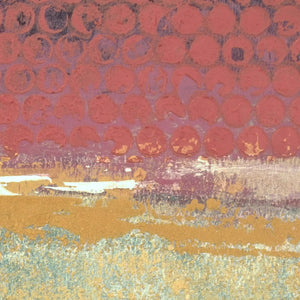 "Closeup detail of red and gold abstract beach artwork ""Imperial Secrets,"" metal print by Victoria Primicias"