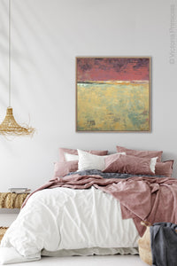 "Red and gold abstract ocean wall art ""Imperial Secrets,"" canvas art print by Victoria Primicias, decorates the bedroom."