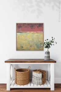 "Red and gold abstract landscape painting ""Imperial Secrets,"" wall art print by Victoria Primicias, decorates the entryway."