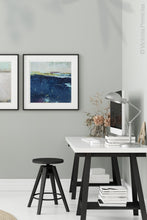 "Load image into Gallery viewer, Indigo abstract beach wall decor ""Indigo Blue,"" wall art print by Victoria Primicias, decorates the office."